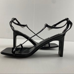 Women's Black Squared Toe 8cm Heel Shoes Size 9